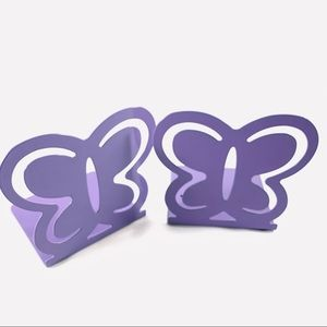Pair Of Purple Painted Metal Butterfly Bookends - Ideal Child's Bedroom Decor